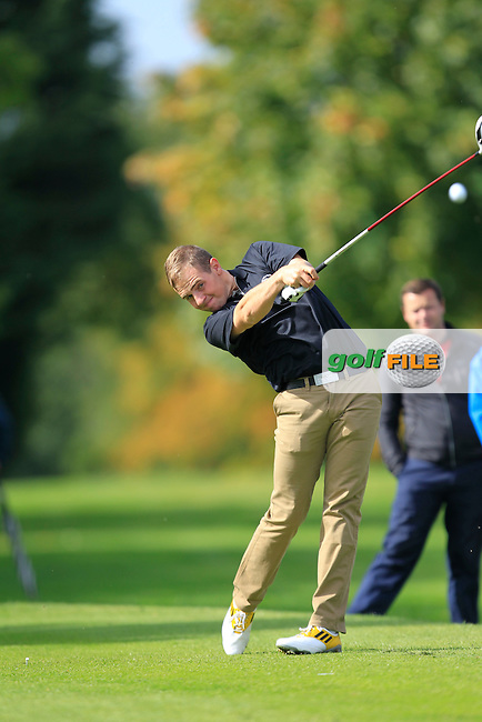 Declan Reidy (Co. Sligo) on the 18th tee during for the AIG Senior Cup Semi-Finals at Royal Tara Golf Club on Friday 20th September 2013.<br /> Picture:  Thos Caffrey / www.golffile.ie