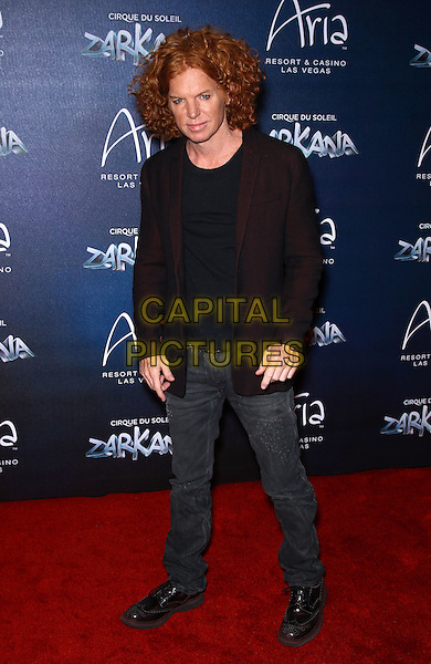 Carrot Top.Red Carpet Premiere of Zarkana by Cirque Du Soleil at Aria Resort and Casino, Las Vegas, Nevada, USA, .9th November 2012..full length black red burgundy blazer jacket jeans .CAP/ADM/MJT.© MJT/AdMedia/Capital Pictures.
