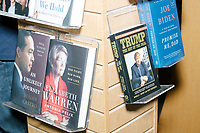 Political memoirs of 2020 presidential candidates including Elizabeth Warren, Julian Castro, Donald Trump, Joe Biden, Kamala Harris, and Bernie Sanders, are seen on display during a campaign event for Democratic presidential candidate Pete Buttigieg at Gibson's Bookstore in Concord, New Hampshire, USA, on Sat., Apr. 6, 2019. Buttigieg is the mayor of South Bend, Indiana, and was widely considered a long-shot candidate until his appearance in a CNN town hall in March 2019 which catapulted his campaign to prominence and substantial donations.