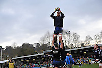 Nick Koster wins lineout ball during the pre-match warm-up. LV= Cup match, between Bath Rugby and Exeter Chiefs on January 26, 2013 at the Recreation Ground in Bath, England. Photo by: Patrick Khachfe / Onside Images