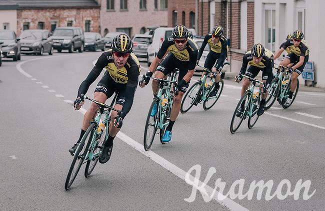 Bram Tankink (NED/LottoNL-Jumbo) setting a fierce pace in front of the peloton (that eventually will break in smaller parts)<br /> <br /> 77th Euro Metropole Tour 2017<br /> La Louvière > Tournai (BEL): 188.6 km