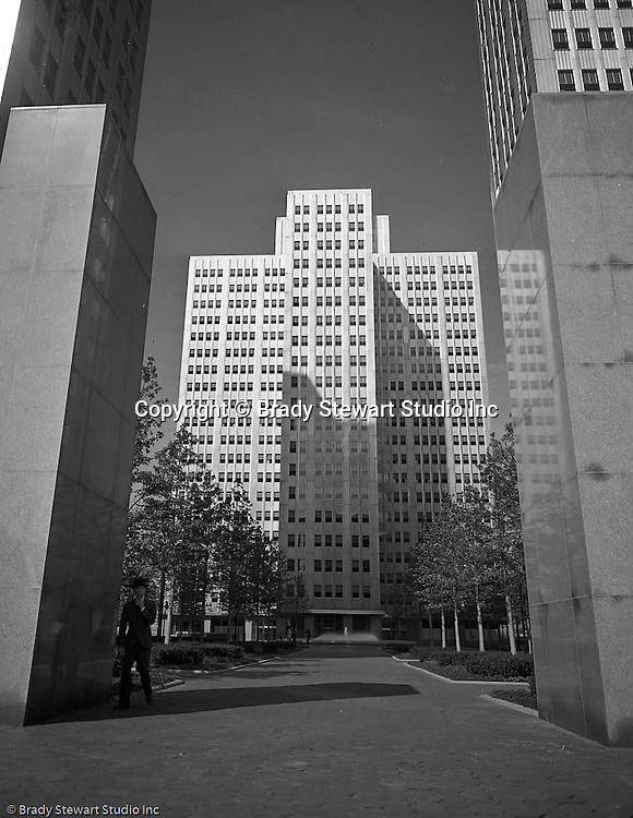 Pittsburgh PA:  View of Gateway Center building One and landscaping - 1953.  Cathy and Brady III assisted dad on this assignment. Gateway Center, a four-building office campus that is a centerpiece of the Downtown Pittsburgh business district. Serving as the key piece of Pittsburgh's Renaissance 1,  Gateway Center and the original Pittsburgh Hilton shaped the Pittsburgh Point for over 30 years. Gateway Center totals nearly 1.5 million square feet of space on 8.9 acres, along with the complementing landscaped plaza, underground walkways and parking.