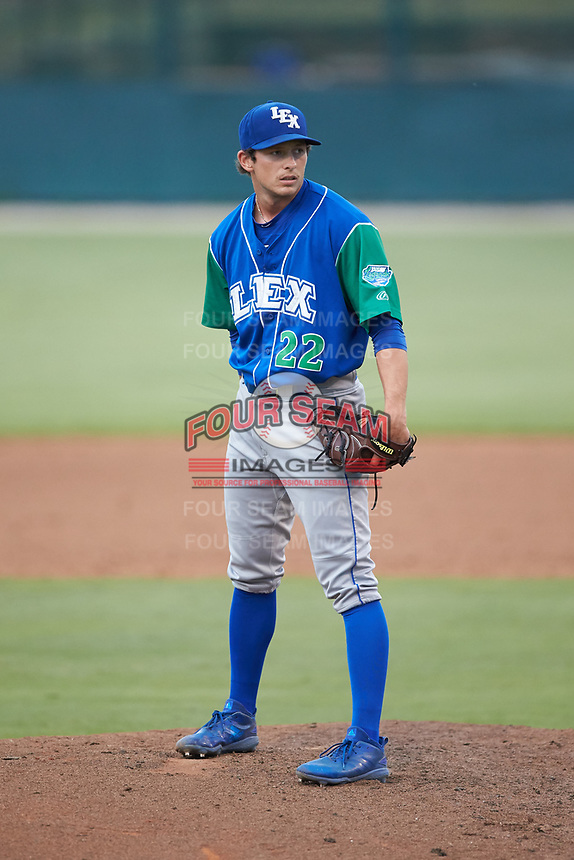Lexington Legends relief pitcher Brandon Marklund (22) looks to his catcher for the sign against the Kannapolis Intimidators at Kannapolis Intimidators Stadium on August 4, 2019 in Kannapolis, North Carolina. The Legends defeated the Intimidators 5-1. (Brian Westerholt/Four Seam Images)