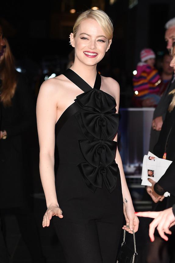 "Emma Stone<br /> arriving for the London Film Festival 2017 screening of ""Killing of a Sacred Deer"" at Odeon Leicester Square, London<br /> <br /> <br /> ©Ash Knotek  D3332  12/10/2017"