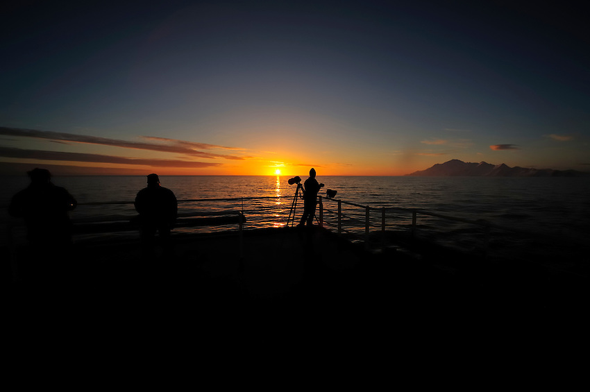Photographers at sunset - Sunset after departing Half Moon Island
