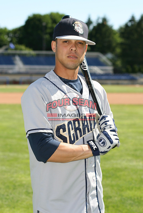 Juan Valdes of the Mahoning Valley Scrappers, Class-A affiliate of the Cleveland Indians, during the New York-Penn League season.  Photo by:  Mike Janes/Four Seam Images