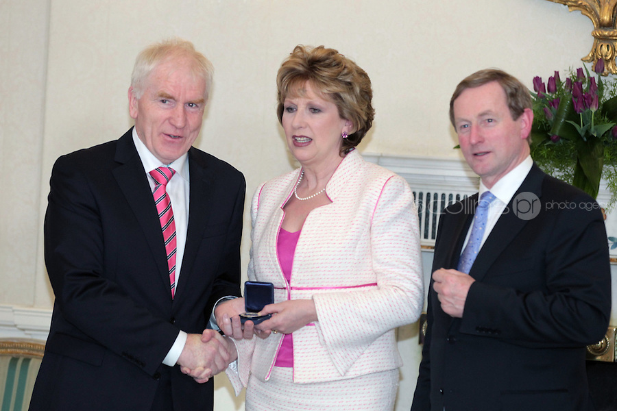 9/3/11 Jimmy Deenihan, Minister for Arts, Heritage and Gaeltacht Affairs with President Mary McAleese and Taoiseach Enda Kenny at Aras An Uachtarain for the appoinment of the Government. Pictures:Arthur Carron/Collins