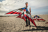 USA, Washington State, Long Beach Peninsula, International Kite Festival, portrait of Vancouver, Canada resident Ray Bethell, he is well know in the kite flying community for flying multiple kites at one time, he has attended for over 37 years