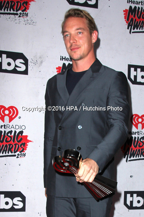 LOS ANGELES - APR 3:  Diplo at the iHeart Radio Music Awards 2016 Press Room at the The Forum on April 3, 2016 in Inglewood, CA