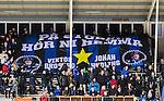 Uppsala 2015-10-23 Bandy Elitserien IK Sirius - Villa Lidk&ouml;ping BK :  <br /> Sirius supportrar med en overheadflagga som hyllning till &aring;terv&auml;ndande nyf&ouml;rv&auml;rven Viktor Broberg och Johan Jansson Hydling inf&ouml;r matchen mellan IK Sirius och Villa Lidk&ouml;ping BK <br /> (Foto: Kenta J&ouml;nsson) Nyckelord:  Bandy Elitserien Uppsala Studenternas IP IK Sirius IKS Villa Lidk&ouml;ping supporter fans publik supporters utomhus exteri&ouml;r exterior