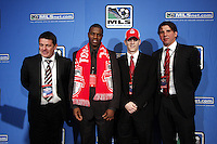 Toronto FC Head Coach John Carver-O'Brian White #4 overall dradt pick-Sam Cronin #2 overall draft pick-Nick Dasovic Academy Head Coach. MLS Superdraft 2009 held at Convention and Visitors Center, St Louis , MO January 15 2009.