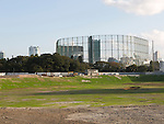 A general view of the land where the National Stadium stood shows that the cleaning process of the rubble is now complete on October 27, 2015, Tokyo, Japan. The land will be used for a new national stadium which will be the centrepiece of the 2020 Summer Olympic Games. The design of the new stadium has yet to be fixed. (Photo by Rodrigo Reyes Marin/AFLO)