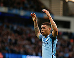 Gabriel Jesus of Manchester City celebrates scoring the first goal during the English Premier League match at the Etihad Stadium, Manchester. Picture date: May 16th 2017. Pic credit should read: Simon Bellis/Sportimage