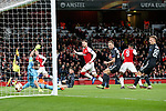 Aaron Ramsey of Arsenal has an early goal disallowed for offside during the UEFA Europa League Quarter-Final 1st leg match at the Emirates Stadium, London. Picture date 5th April 2018. Picture credit should read: Charlie Forgham-Bailey/Sportimage