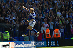 Home midfielder Seb Larsson celebrates scoring his team's equalising goal at St. Andrew's stadium, during Birmingham City's Barclay's Premier League match with Wolverhampton Wanderers. Both clubs were battling against relegation from  England's top division. The match ended in a 1-1 draw, watched by a crowd of 26,027.