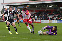 James McKeown of Grimsby Town denies Emmanuel Sonupe of Stevenage during Stevenage vs Grimsby Town, Sky Bet EFL League 2 Football at the Lamex Stadium on 12th October 2019