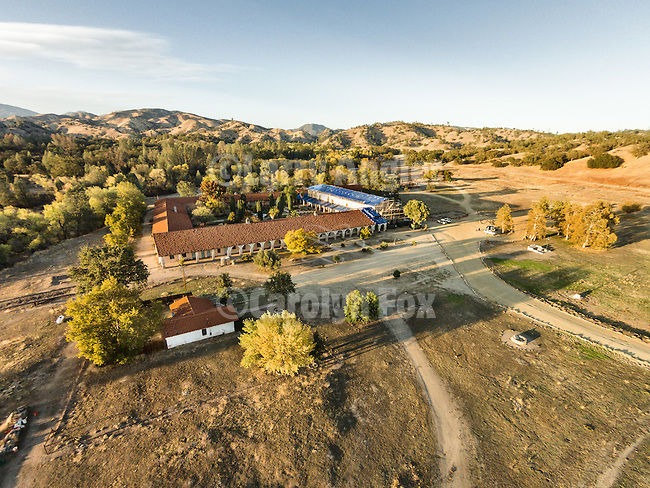 Aerial photos from small r/c drone, Historic Mission San Antonio de Padua, 3rd of the Father Serra Mission, 1771, Monterey County, Calif.<br /> <br /> Fall 2014 earthquake retrofit