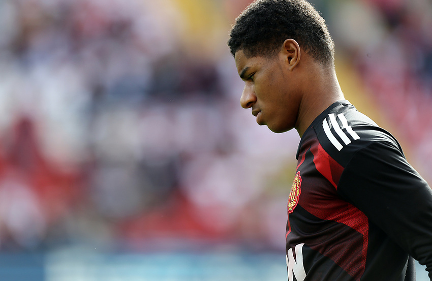 Manchester United's Marcus Rashford during the pre-match warm-up <br /> <br /> <br /> Photographer Rich Linley/CameraSport<br /> <br /> The Premier League - Liverpool v Manchester United - Saturday 14th October 2017 - Anfield - Liverpool<br /> <br /> World Copyright &copy; 2017 CameraSport. All rights reserved. 43 Linden Ave. Countesthorpe. Leicester. England. LE8 5PG - Tel: +44 (0) 116 277 4147 - admin@camerasport.com - www.camerasport.com