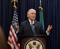 In this photo provided by the United States Department of State, U.S. Secretary of State Rex Tillerson addresses U.S. Mission Nigeria staff at a Meet and Greet at U.S. Embassy Abuja in Nigeria on March 12, 2018.  US President Donald J. Trump announced on Tuesday, March 13, 2018 that he is removing Tillerson from his post and replacing him with CIA Director Mike Pompeo.<br /> CAP/MPI/CNP/RS<br /> &copy;RS/CNP/MPI/Capital Pictures