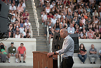 Rob Flot, Vice-President for Student Affairs & Dean of Students<br /> The O-Team cheers for parents and students at the Welcome to Oxy event at the Remsen Bird Hillside Theater (Greek Bowl) as part of the official Orientation welcome. Incoming first-years and their families are welcomed by enthusiastic O-Team members and other members of the community during Occidental College's Fall move-in and orientation for the class of 2022, Aug. 23, 2018.<br /> (Photo by Marc Campos, Occidental College Photographer)