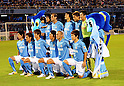Jubilo Iwata team group line-up, SEPTEMBER 24, 2011 - Football / Soccer : Jubilo Iwata players (Top row - L to R) Yoshiaki Fujita, Rodrigo Souto, Ryoichi Maeda, Kenichi Kaga, Yoshikatsu Kawaguchi, (Bottom row - L to R) Yuki Kobayashi, Yuichi Komano, Shuto Yamamoto, Hiroki Yamada, Norihiro Nishi and Ryohei Yamazaki pose for a team photo with the club mascots Jubilo-kun and Jubi-chan before the 2011 J.League Division 1 match between Jubilo Iwata 1-0 Albirex Niigata at Yamaha Stadium in Shizuoka, Japan. (Photo by AFLO)
