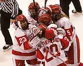 Nina Rodgers (BU - 23), Samantha Sutherland (BU - 20), Sammy Davis (BU - 16), Abby Cook (BU - 9), Sarah Steele (BU - 4) - The Boston College Eagles defeated the Boston University Terriers 3-2 in the first round of the Beanpot on Monday, January 31, 2017, at Matthews Arena in Boston, Massachusetts.