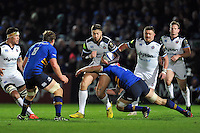 Matt Banahan of Bath Rugby takes on the Leinster defence. European Rugby Champions Cup match, between Leinster Rugby and Bath Rugby on January 16, 2016 at the RDS Arena in Dublin, Republic of Ireland. Photo by: Patrick Khachfe / Onside Images