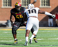 College Park, MD - SEPT 23, 2017: Maryland Terrapins offensive lineman Derwin Gray (55) battles against UCF Knights linebacker Titus Davis (10) during game between Maryland and UCF at Capital One Field at Maryland Stadium in College Park, MD. (Photo by Phil Peters/Media Images International)
