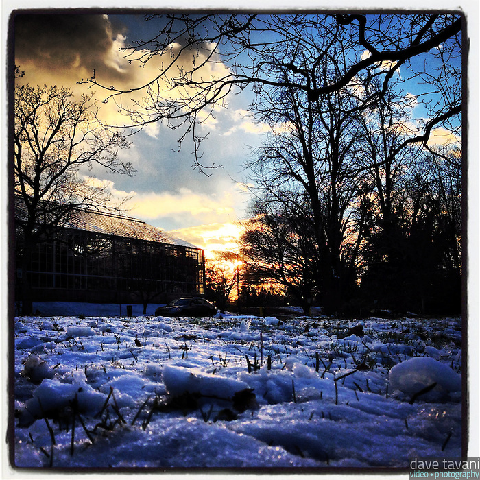 The sun fades over the Horticultural Center in Fairmount Park December 30, 2012.