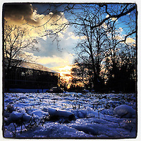 The sun fades over the Horticultural Center in Fairmount Park December 30, 2012.
