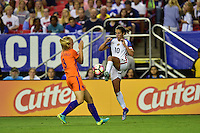 Atlanta, GA - Sunday Sept. 18, 2016: Stefanie van der Gragt, Carli Lloyd during a international friendly match between United States (USA) and Netherlands (NED) at Georgia Dome.