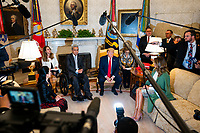 US President Donald J. Trump (R) and Ecuadorian President Lenin Moreno (L) speak to the media in the Oval Office of the White House in Washington, DC, USA, 12 February, 2020. The President used the opportunity to double down on his criticism of the Justice Department's proposed sentence of Roger Stone.<br /> Credit: Jim LoScalzo / Pool via CNP/AdMedia