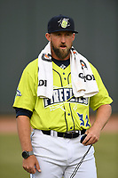Pitching coach Royce Ring (32) of the Columbia Fireflies before a game against the Charleston RiverDogs on Thursday, April 4, 2019, at Segra Park in Columbia, South Carolina. Charleston won, 2-1. (Tom Priddy/Four Seam Images)