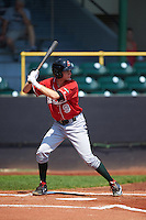 Great Lakes Loons outfielder Logan Landon (9) at bat during a game against the Clinton LumberKings on August 16, 2015 at Ashford University Field in Clinton, Iowa.  Great Lakes defeated Clinton 3-2 in ten innings.  (Mike Janes/Four Seam Images)