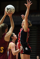 05.10.2012 Counties Manukau's Megan Adler in action during the netball match between Southland and Counties Manukau at the Lion Foundation Netball Champs in Tauranga. Mandatory Photo Credit ©Michael Bradley.