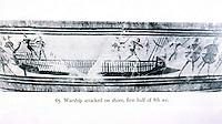 Ancient Ships:  Greek warship attacked ashore, ca. 800-750 B.C.  From a mixing bowl.