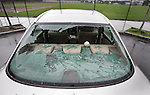 The start of baseball season in Mill Valley started with a foul ball crashing through a back window of a BMW parked near a Little League Field.