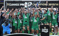 28/05/2016;Guinness Pro12 Final<br /> Connacht captain John Muldoon lifts the Pro12 Trophy<br /> Photo Credit: actionshots.ie/Tommy Grealy