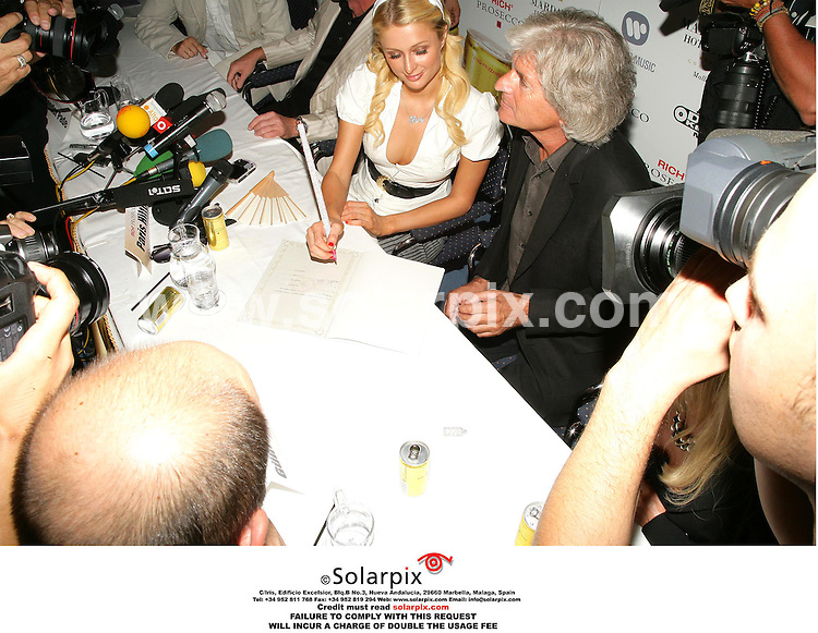 ALL ROUND PICTURES FROM SOLARPIX.COM.*MUST CREDIT SOLARPIX.COM OR DOUBLE FEE WILL BE CHARGED*.Paris Hilton yesterday gave a press conference to promote a new drink called 'Rich Prosecco' at the  'Hotel Marival' in Palma de Mallorca in the Balearic Islands...DATE:23-07-06-JOB REF:2616-MCA
