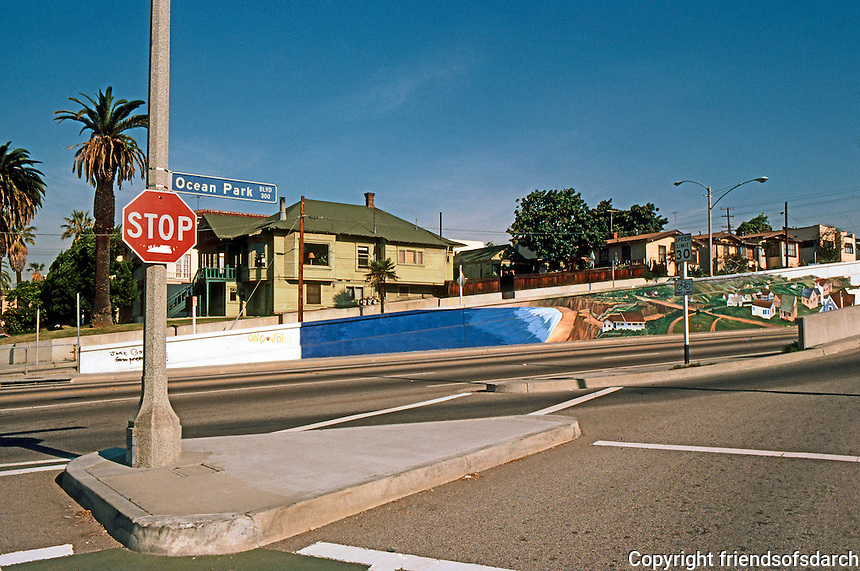 Santa Monica: Ocean Park Blvd., Underpass and Mural.  Photo '82.