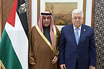 Palestinian President Mahmoud Abbas, accepts the credentials for the Kuwait's ambassador to the State of Palestine, in the West Bank city of Ramallah, on December 22, 2019. Photo by Thaer Ganaim