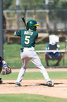 Oakland Athletics second baseman Marcos Brito (5) at bat during an Instructional League game against the Los Angeles Dodgers at Camelback Ranch on September 27, 2018 in Glendale, Arizona. (Zachary Lucy/Four Seam Images)