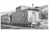 RGS caboose #0403 in Dolores.<br /> RGS  Dolores, CO  Taken by Winters, Charles E. - 8/23/1946