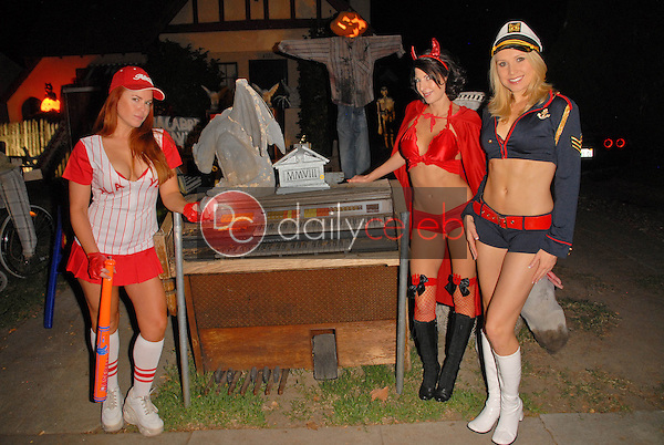 Lisa Cash, Jamie Carson and Alana Curry<br /> preparing for the annual Halloween Bash at the Playboy Mansion, Private Location, Los Angeles, CA. 10-24-09<br /> David Edwards/DailyCeleb.com 818-249-4998