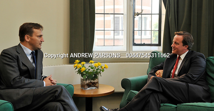 Leader of the Conservative Party David Cameron meets Radoslaw Sikorski, Minister of Foreign Affairs of Poland in his office in Norman Shaw South,Westminster, London,  Thursday October 15, 2009 .Photo By Andrew Parsons ..