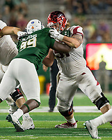NWA Democrat-Gazette/BEN GOFF @NWABENGOFF<br /> Hjalte Froholdt, Arkansas center, blocks Damion Dickens, Colorado State nose tackle, in the 3rd quarter Saturday, Sept. 8, 2018, at Canvas Stadium in Fort Collins, Colo.