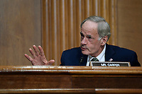 United States Senator Tom Carper (Democrat of Delaware), questions Internal Revenue Service Commissioner Charles Rettig at a Senate Finance Committee hearing on Capitol Hill in Washington, Tuesday, June 30, 2020, on the 2020 filing season and COVID-19 recovery.<br /> Credit: Susan Walsh / Pool via CNP /MediaPunch