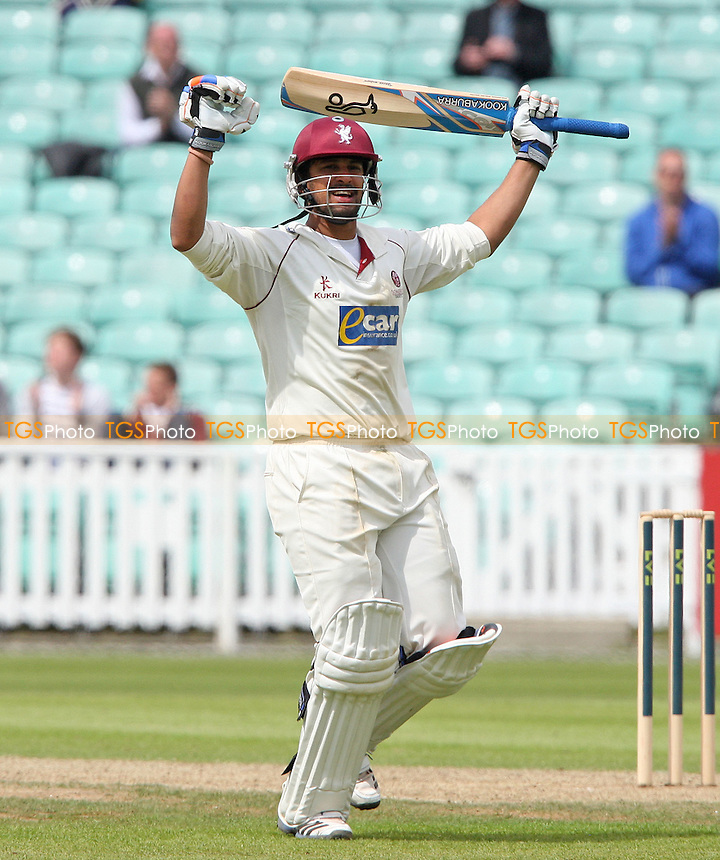 Arul Suppiah of Somerset celebrates his century - Surrey CCC vs Somerset CCC, LV County Championship Division 1 at The Kia Oval, Kennington - 16/05/12 - MANDATORY CREDIT: Rob Newell/TGSPHOTO - Self billing applies where appropriate - 0845 094 6026 - contact@tgsphoto.co.uk - NO UNPAID USE.