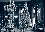 Old Westbury, New York, USA. December 17, 2017. A Christmas tree is in the formal dining room of Westbury House at Old Westbury Gardens during its Winter Holiday event.