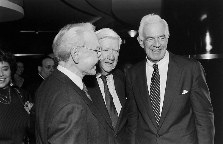 "Former Speaker of the House Rep. James Claude Wright, D-Tex, Former Speaker of the House Thomas Phillip ""Tip"" O'Neill, D- Mass. and current Speaker of the House Rep. Thomas Stephen ""Tom"" Foley, D-Wash at Jim Wright book signing. October 27, 1993 (Photo by Chris Martin/CQ Roll Call)"